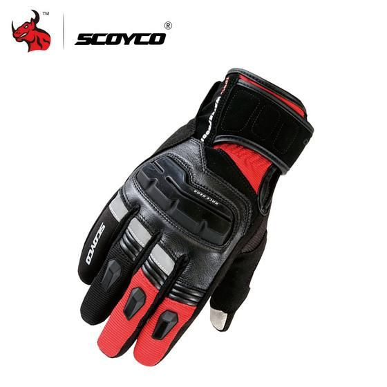 SCOYCO Leather Gloves - Red