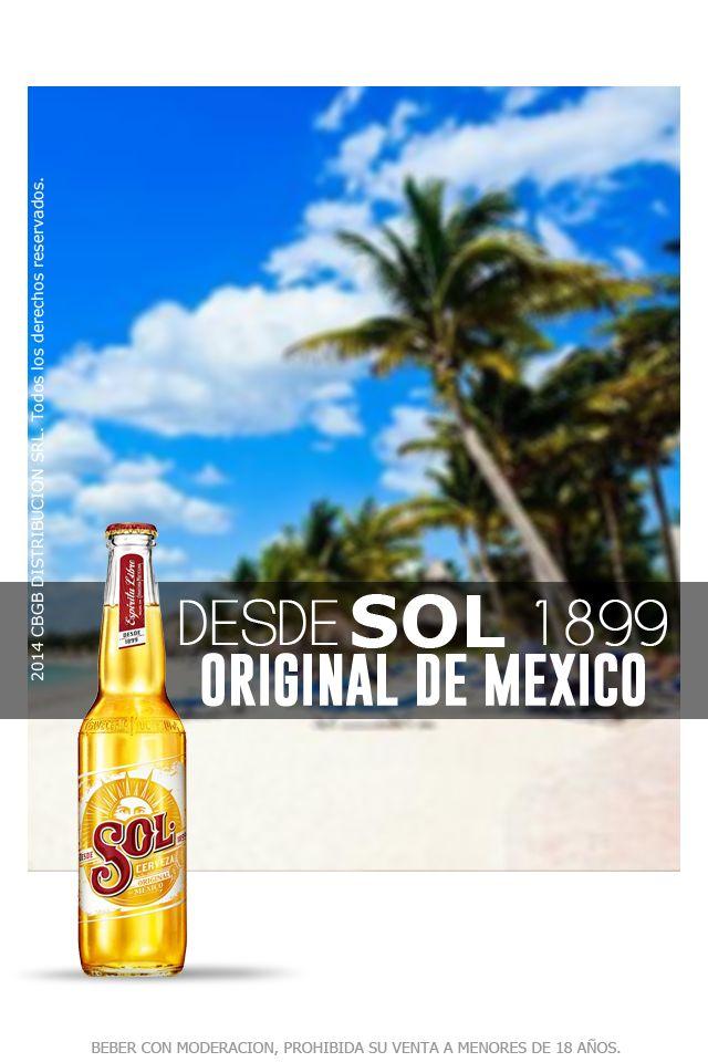 Sol. Sol es una cerveza liviana y refrescante de gran sabor, tipo lager con 4,5º grados de alcohol. De aroma fresco y afrutado, color dorado y espuma consistente. Es la única cerveza Mexicana que contiene un lúpulo resistente a la luz que garantiza siempre el mismo sabor y aroma. Cerveza Sol es una cerveza que nació en 1899 en México, y llega con el auténtico sabor de su origen, que sorprenderá a todos los que se mantienen fieles a sus ideas y se sienten de espíritu libre.