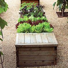 Horta com banco para guardar acessórios para o jardim.