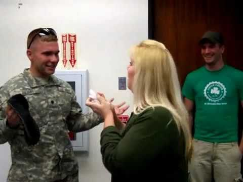 Soldier Surprises Mom at Work - YouTube