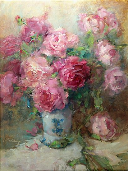 Peonies-in-blue-and-white-v by Barbara Schilling Oil ~ 24 x 18