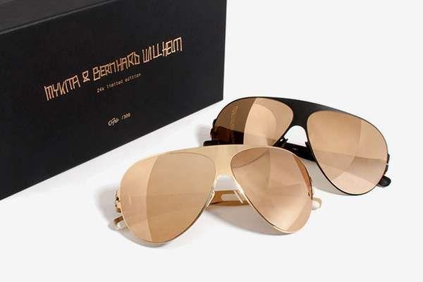 The MYKITA Franz 24k Gold Sunglasses are Truly Luxurious #summer #sunglasses trendhunter.com