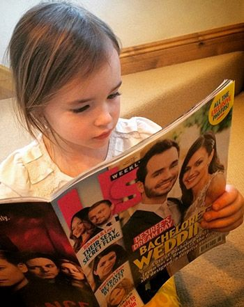 Startin' young! Trista Sutter's adorable little girl Blakesley is just like Us. The first Bachelorette shared a sweet snap of her 4-year-old daughter reading Us Weekly's issue, featuring fellow Bachelorette star Desiree Hartsock's Jan. 18 wedding to Chris Siegfried.