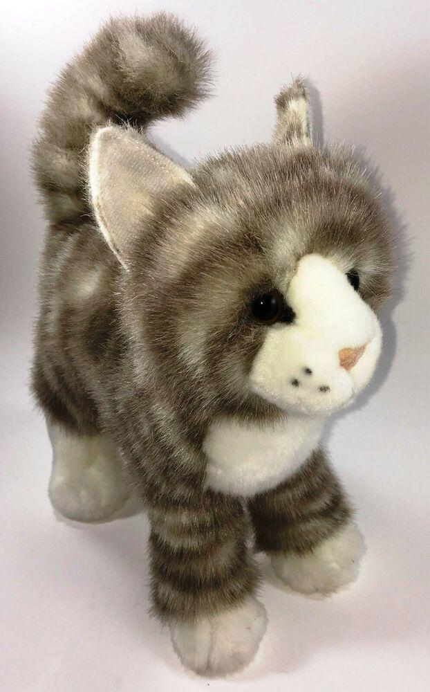 Douglas Zipper Gray Tabby Cat Plush White Stripes Kitten Stuffed Toy Soft Kitty Douglas Graytabbystripes Grey Tabby Cats Tabby Cat Cat Plush