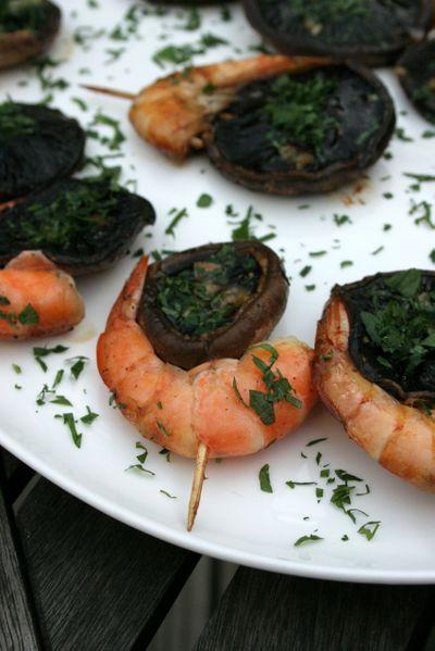 Tapas Inspiration, Pintxos of sauteed garlic & herb mushrooms with prawns