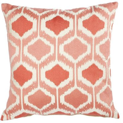 We love this coral throw pillow--how cute would a pair look on a white sofa? | $54