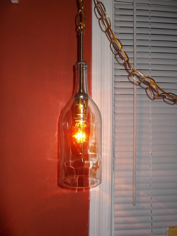 upcycled wine bottle light swag chandelier by OceanBlueCreations, $59.95