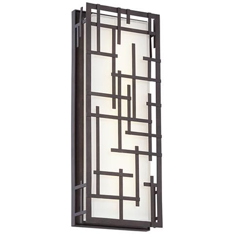 """Modern Lines 16 1/4"""" High Bronze LED Outdoor Wall Light - #7K575 