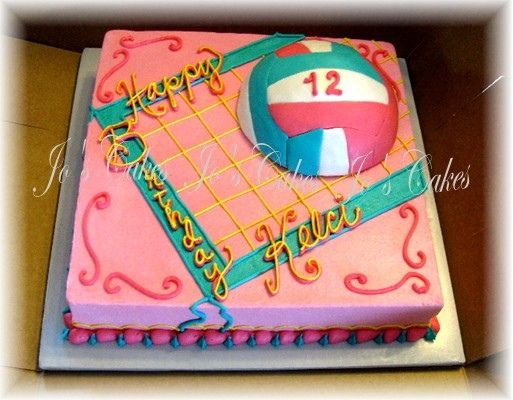 Girly volleyball cake — Volleyball