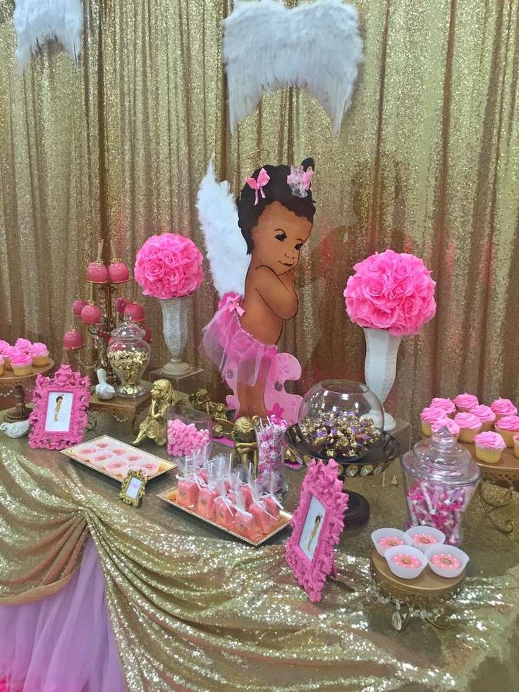 Pink and gold angel baby shower party! See more party planning ideas at CatchMyParty.com!