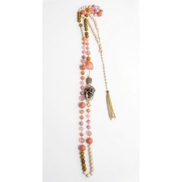 """Tecno Tropical Necklace with wood, rodonite, quartz, agate, and shell beads by Donatella Pellini. 48"""" long with adjustable closure. Handmade in Italy."""