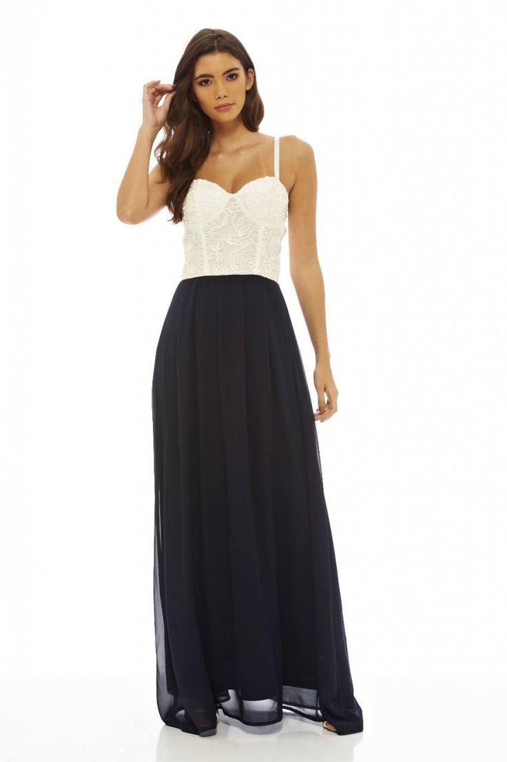 Dostępne różne rozmiary – niesamowita sukienka w ślicznym połączeniu kolorów bieli i granatu – biały, przepiękny, koronkowy gorset serduszko, zmysłowo prezentuje kobiecy dekolt i ramiona – cieniutkie ramiączka mają możliwość regulacji, dzięki czemu idealnie dopasujesz sukienkę do swojej figury – miseczki są usztywniane co sprawi, że biust wygląda kusząco i ponętnie – tył gorsetu gładki