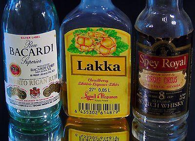 Vintage-Mini-Liquor-Bottles-Bacardi-Lakka-Spey-Royal-Lot-of-3-Collectibles-Mini