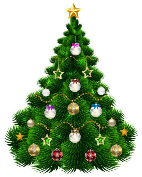 Beautiful Christmas Tree with Ornaments PNG Clip-Art Image