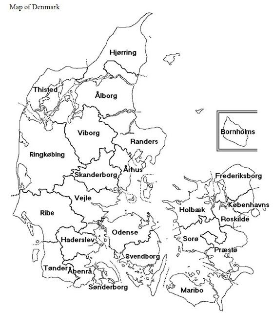 Map of Denmark- County of Frederiksborg top right, above Copenhagen, on the island of Zealand.  Odense County on the Island of Fyn, to the west of Zealand