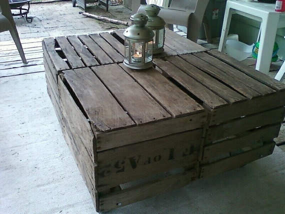 Vintage apple crates made into a cocktail table for for Vintage crates cheap