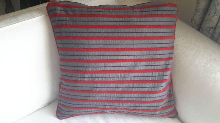 Scatter Cushion Cover Red Velvet Stripe&Charcoal/Grey-Designer Decorative Throw
