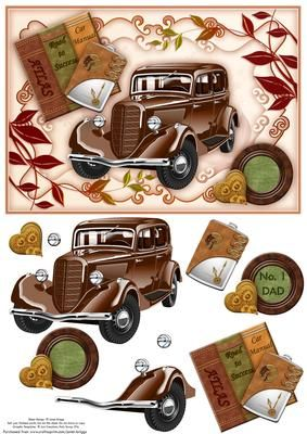 VINTAGE BROWN CAR A5 Topper Decoupage on Craftsuprint designed by Janet Briggs - Card front and step by step decoupage, featuring a beautifully glossy vintage car in brown. Set on a framed background, with car manuals, atlas, travel hip flask and embellishments.Suitable for a wide variety of occasions, including male birthday, Father's Day, Friend, Dad, brother, son etc.2 sentiment tags for layering are provided, including 1 blank for your own greeting and 1 which reads, No. 1 Dad - Now ...