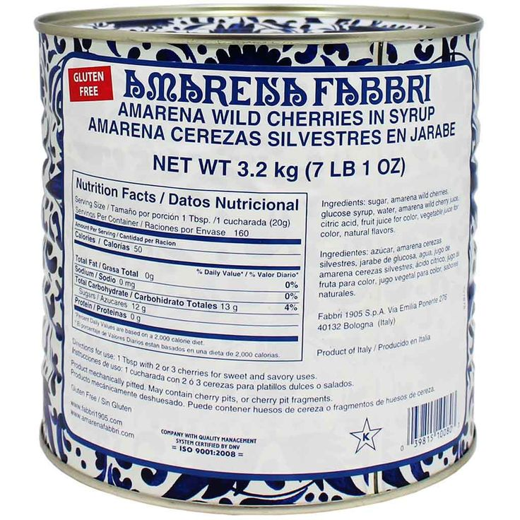 Fabbri Wild Amarena Cherries in Syrup 7.1 lb. (3.2 kg)