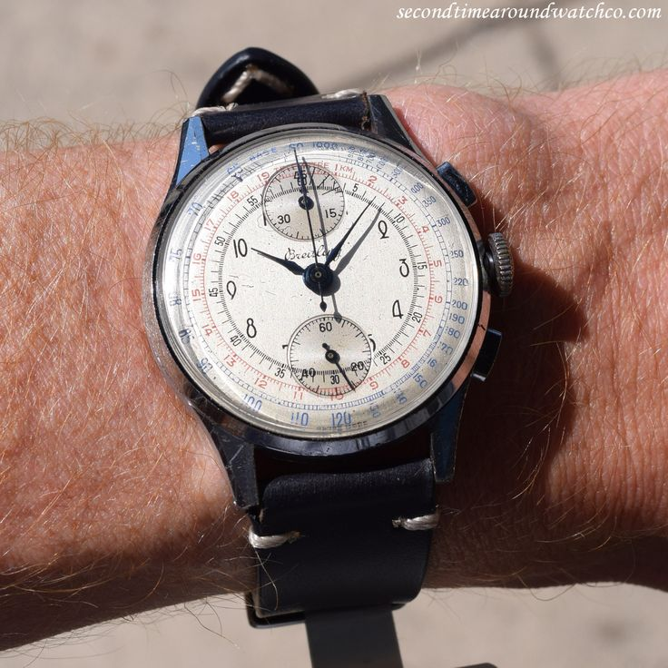 A 1946 vintage Breitling Chronograph Ref. 178 with two-registers, a chrome and stainless steel case, and a beautiful, original silver dial with black-colored, Arabic numerals, and blue, and...