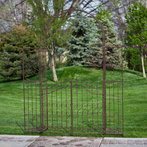 Belham Living Gated Hodgson Garden Metal Arbor with Planter Stands