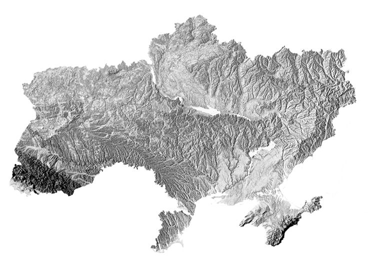 Ukraine hillshade map | wall art | map art | poster | high resolution digital map | Ukraine | Україна | hillshade | printable ma
