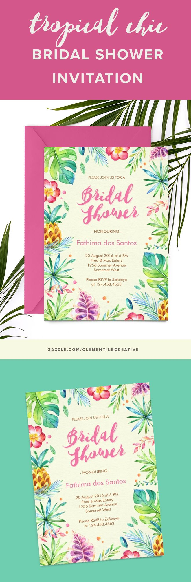 Throw a fun summer bridal shower with this classy tropical theme invitation. It features watercolor tropical leaves, hibiscus flowers, palms and pineapples. This card will also work for Hawaiian luau, summer, and beach themed bridal showers.