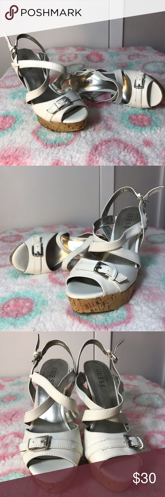 Guess White Strappy Slingbacks Very gently used. The bottom front is worn but the heel is very good. There is a slight scuff in the back of the left shoe. There is some wear to the straps but not bad. These are size 8M. Guess Shoes Heels
