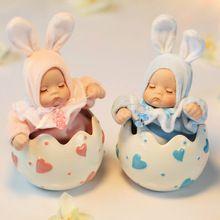 Bébé lapin en céramique bobble head boîte à musique de poupée demi oeuf boîte à musique cadeau d'anniversaire petite amie cadeaux décoration de la maison(China (Mainland))
