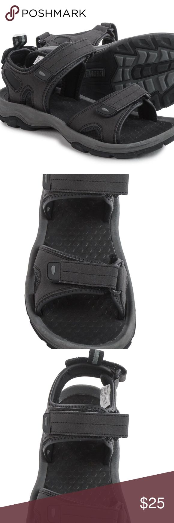 NEW Mens Sport Sandals Khombu Barracuda Size 11 Men's Sport Sandals Khombu Barracuda ~ Black ~ SIZE 11 ~ New with Tags (No Box) Khombu's Barracuda sport sandals make trail adventuring, puddle jumping and creek crossing a breeze, thanks to a rugged, grippy design, hydrophobic cushion footbed and three fully adjustable straps for a custom fit all the way around. Durable, water-resistant upper Three adjustable touch-fasten straps Cushioned, moisture-wicking lining Deeply cushioned hydrophobic…