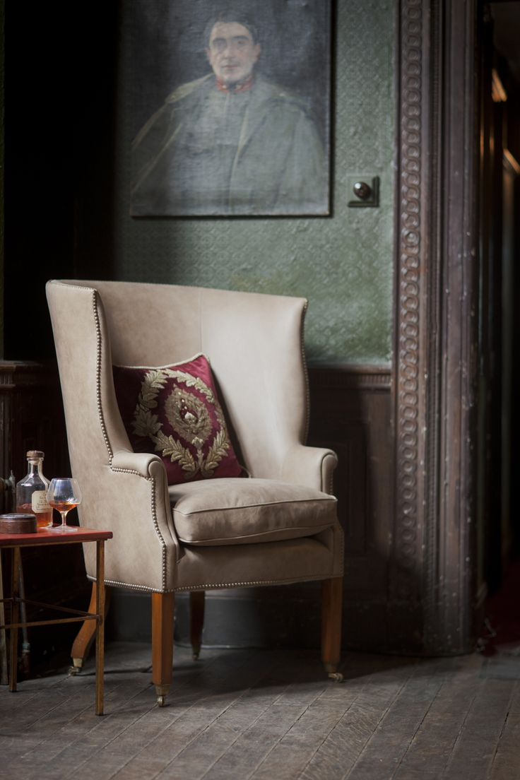 Our unusual take on the classic wing chair in Siena leather and for a touch of glamour our Rossini cushion. #masculine #wingchairs