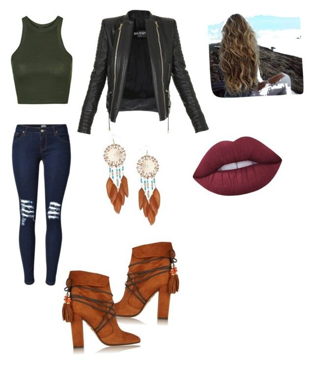 Outfit casual by nicolepaz1999 on Polyvore featuring polyvore, fashion, style, Topshop, Balmain, Aquazzura, Miss Selfridge, Lime Crime and clothing