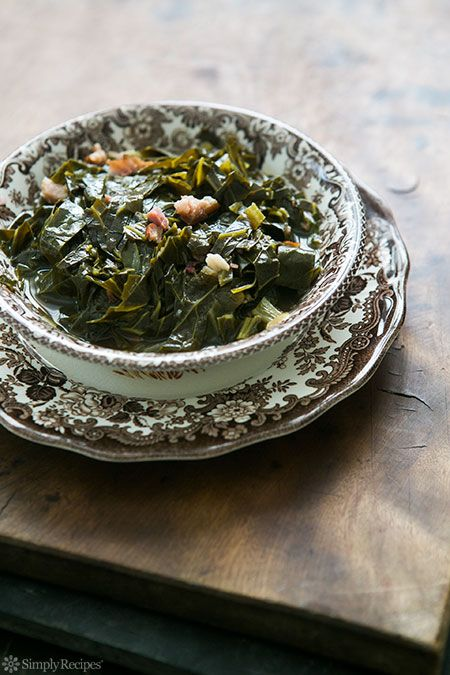 Southern Collard Greens on Simply Recipes -- I LOVE this dish only I added dry sherry and red (chili) pepper flakes to the recipe. Before serving, I fried up some hot link sausages whole, then sliced them up and threw them over the collards and rice.  whoa. I couldn't stop eating for 3 bowls. Collard greens are one of my favorite greens!