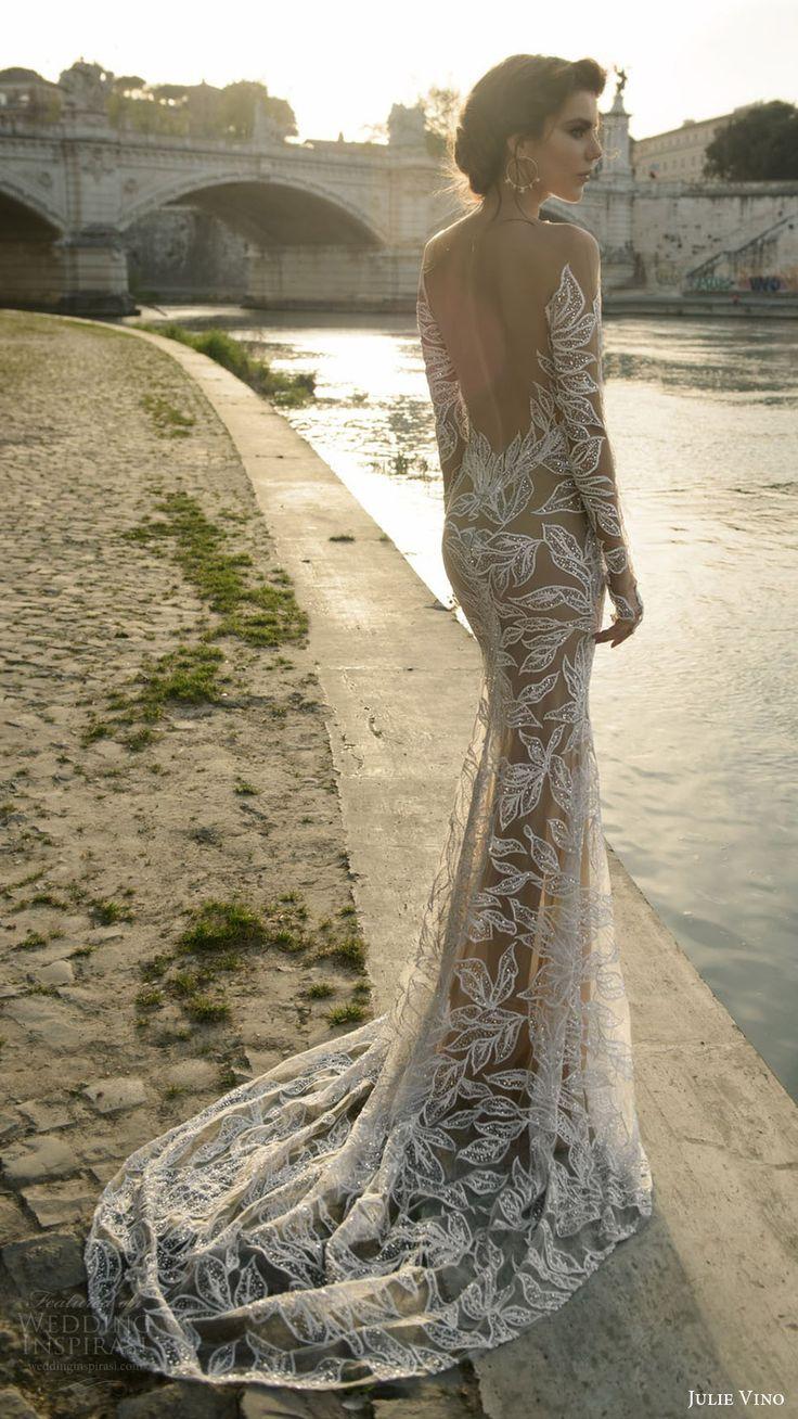 julie vino bridal spring 2017 long sleeves illusion off shoulder beaded sheath wedding dress (tatiana) bv nude color slit skirt low back train