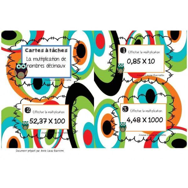 Cartes à tâches Multiplications nb décimaux