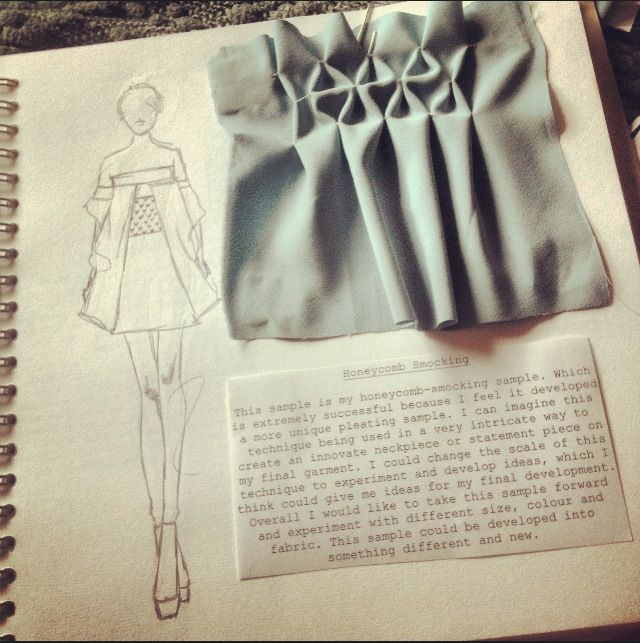 Fashion Sketchbook – fashion design development with honeycomb smocking sample & fashion sketch; fashion portfolio // Sarah Davies