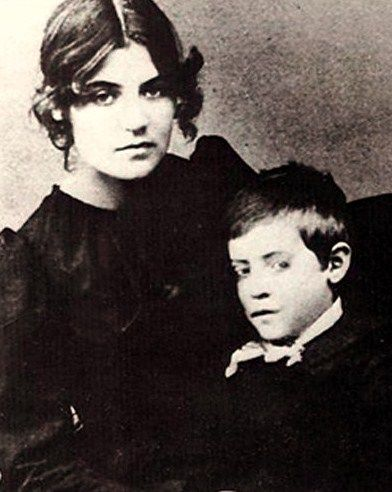 """Artist Suzanne Valadon (1865-1938) and Son Maurice Utrillo, born Maurice Valadon (1883-1955) c 1889. """"A free spirit in many respects, she would wear a corsage of carrots, kept a goat at her studio to """"eat up her bad drawings,"""" & fed caviar (rather than meat) to her """"good Catholic"""" cats on Fridays."""""""