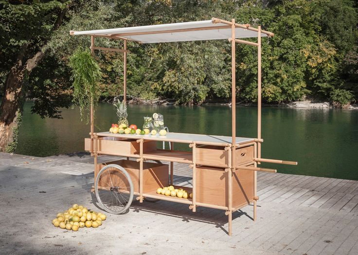 Architect Aurélie Monet Kasisi designed a mobile unit for a suicide prevention organization that looks like a cheery, tropical food stand