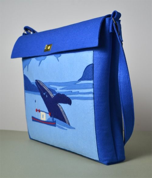 The Pointing Hound presents: WHALE WHALE AND WATCHER navy blue felt bag available on:  https://www.etsy.com/shop/THEPOINTINGHOUND?ref=l2-shopheader-name