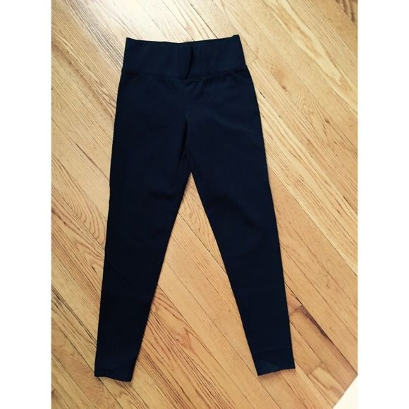 Armani Ponte Style Black Leggings Never worn Armani Ponte style leggings. Wide stretchy flat waist band helps smooth out that midsection.  Mid-rise, label says medium but fits like a small. No stains, no rips, perfect condition! Armani Exchange Pants Leggings