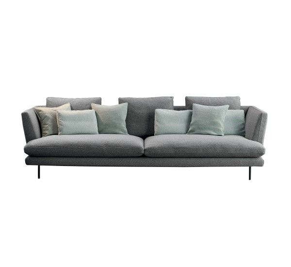 Lars, by Bonaldo, is a sofa designed by Giuseppe Viganò: soft and comfortable, contemporary and eclectic. Lightness is the main feature of Lars sofa: the arms are gently sloping outwards; the pins are made from a thin metal line which give the sofa an aerial image; the cushions of two different sizes create movement and convey an idea of comfort and relaxation. INFO 3 seater sofa Fabric cat. Class