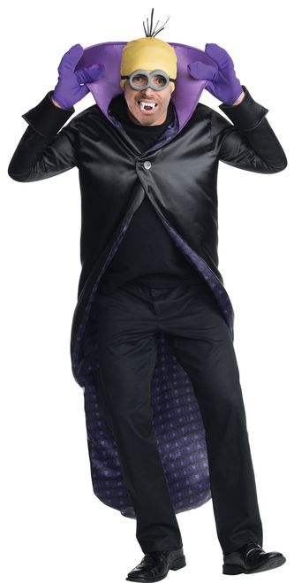 Adult Dracula Minion Halloween Costume - Be a little batty this Halloween with this Vampiric twist on a Minion! This Adult Dracula Minion costume is sure to get a few laughs at your next party! It comes with satin cape, Minion headpiece and goggles with teeth and gloves. A fun twist this Halloween or kids party! Pair with other Minions for a great group costume. #YYC #Calgary #costume #Minion #Dracula #MinionsMovie