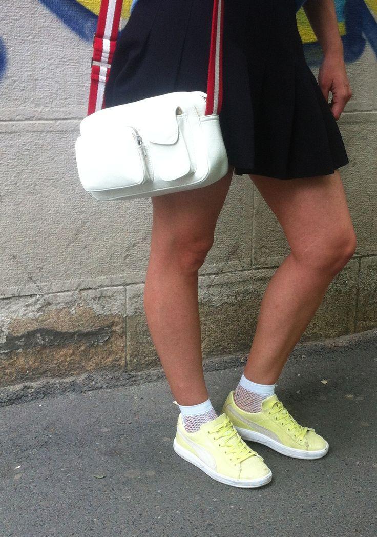 white fishnet socks, trainers