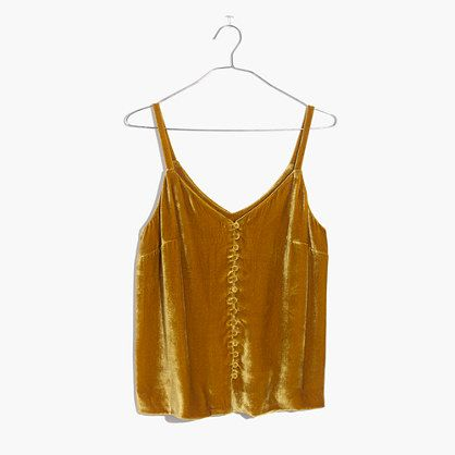A lush velvet cami with pretty details inspired by vintage underpinnings (see: narrow straps, covered buttons). Not just for date night, this top layers perfectly over a fitted tee. <ul><li>True to size.</li><li>Viscose/silk velvet.</li><li>Dry clean.</li><li>Import.</li></ul>