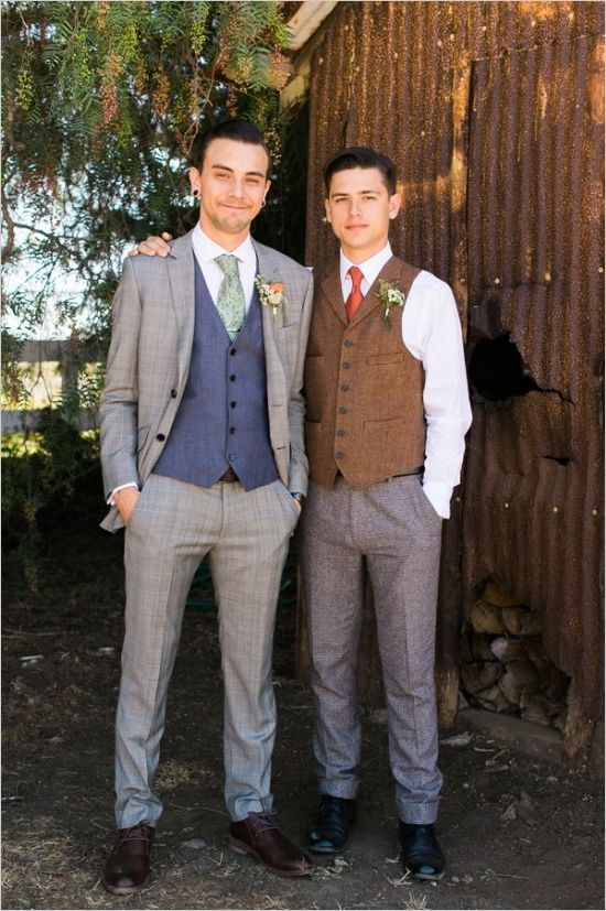 Dapper looking groom and mismatched best man. Captured By: Jen Rodriguez ---> http://www.weddingchicks.com/2014/05/26/bacon-and-eggs-picnic-wedding-reception/