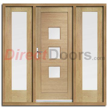 Image of Turin Exterior Oak Door and Frame Set with Two Side Screens and Obscure Double Glazing