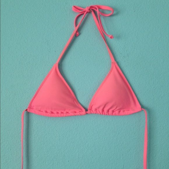 Pink triangle bikini top Padded. Best fits A-C cup. Not billabong ties at neck and back Billabong Swim