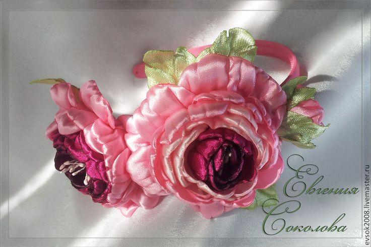 Купить Ободок с розами. - розовый, розы, ободок с цветами, цветы в прическу, красный