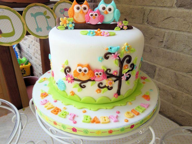 Owl Family Baby Shower Cake - by Ellie1985 @ CakesDecor.com - cake decorating website