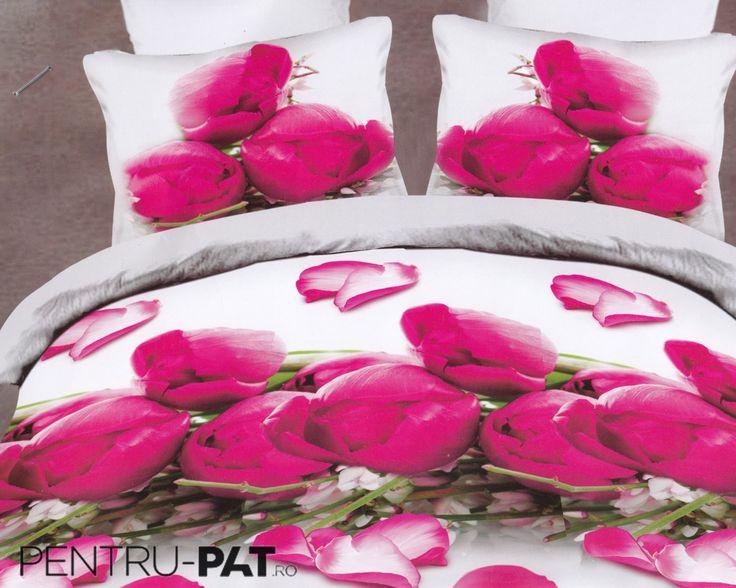 Lenjerie de pat bumbac satinat Pucioasa 3D cu lalele roz